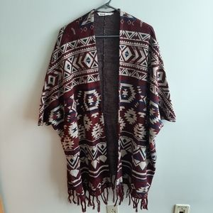 Bluenotes patterned wrap poncho